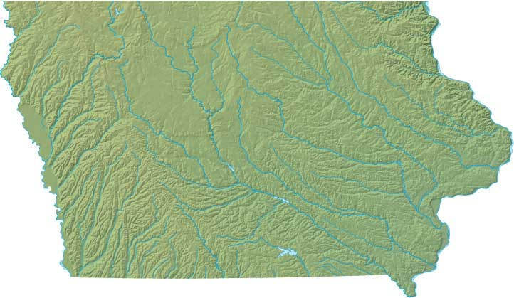 Iowa relief map